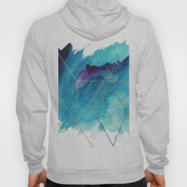 Galaxy Series [1]: an abstract mixed media piece in blue, purple, white, and gold Hoody