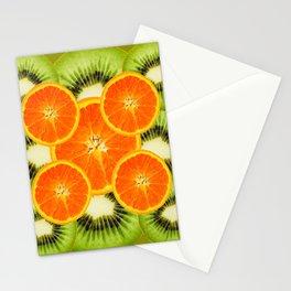 GREEN KIWI & JUICY ORANGE SLICES MODERN ART Stationery Cards