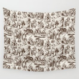 Alice in Wonderland | Toile de Jouy | Brown and Beige Wall Tapestry