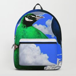 GREEN PEACOCK & BLUE PEACOCK CLOUDS MODERN ART Backpack