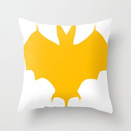 Orange-Yellow Silhouette Of a Bat  Throw Pillow