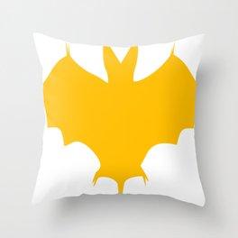 Orange-Yellow Silhouette Of a Bat  Throw Pillow