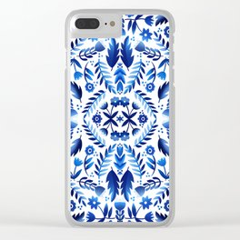 Folk Art Flowers - Blue and White Clear iPhone Case