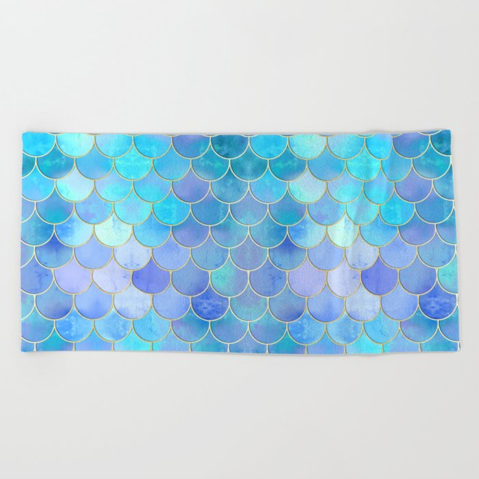 Aqua Pearlescent & Gold Mermaid Scale Pattern Beach Towel