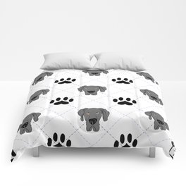 Blue Great Dane Paw Print Pattern Comforters