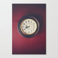 wall clock Canvas Prints featuring Old wall clock by Elisabeth Coelfen