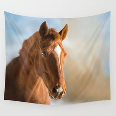 Brown Horse Winter Sky Wall Tapestry