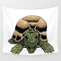 tortoise Wall Tapestries featuring Happy Tortoise by Ken Coleman