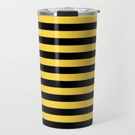 Even Horizontal Stripes, Yellow and Black, M Travel Mug