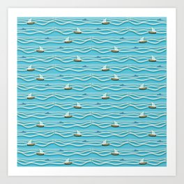 Sailing pattern 1c Art Print