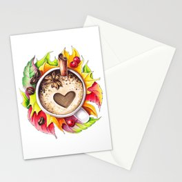 Fall and cup of coffee Stationery Cards