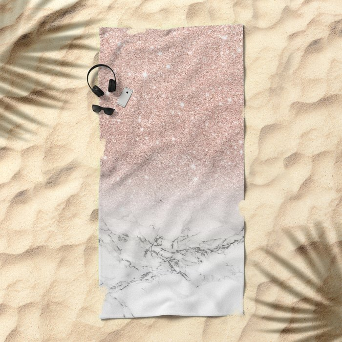 Modern faux rose gold pink glitter ombre white marble Beach Towel