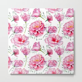 Blush pink green hand painted watercolor roses floral Metal Print