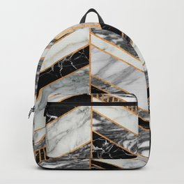 Abstract Chevron Pattern - Black and White Marble Backpack