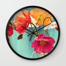 Bright Dancers - Vintage toned poppy flower still life Wall Clock