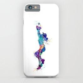 Girl Baseball Player Softball Fielder Colorful Watercolor Art iPhone Case