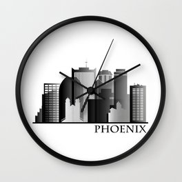 Black and White Phoenix Skyline Wall Clock