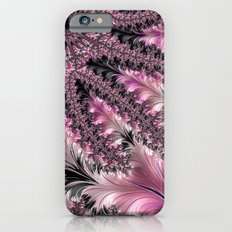 Funky Fun Elegant Feminine Girly Pink Black Trendy Stylish Feathers Delicate Intricate Fractal Art iPhone 6s Slim Case