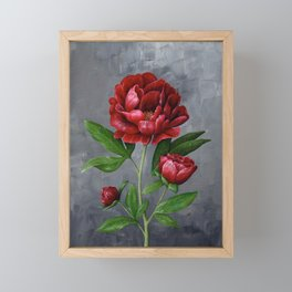 Red Peony Flower Painting Framed Mini Art Print