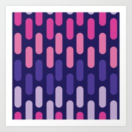 Colourful lines on navy background Art Print