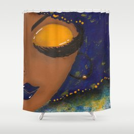 Blue and Gold Sassy Girl  Shower Curtain