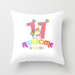 Awesome Since 2007 Unicorn 11th Birthday Anniversaries Throw Pillow