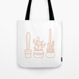 Cacti in pots illustration - white and terracotta Tote Bag