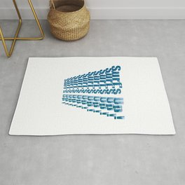 Surfs Up On Repeat Text Design  Rug