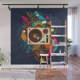 Goodtime Party Music Retro Rainbow Turntable Graphic Wall Mural