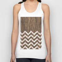 preppy Tank Tops featuring Vintage Preppy Floral Chevron Pattern Brown Wood by Girly Road