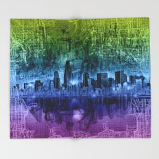 chicago city skyline Throw Blanket