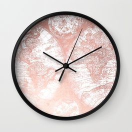Antique map wall clocks society6 rose gold pink antique world map by nature magick wall clock gumiabroncs Image collections