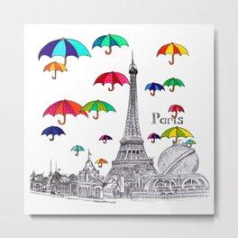 Travel with Umbrella Metal Print