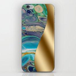 Gold Metal Print - Turquoise Fluid Art Design iPhone Skin