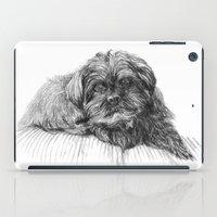 shih tzu iPad Cases featuring Shih Poo Resting by Tanya Petruk