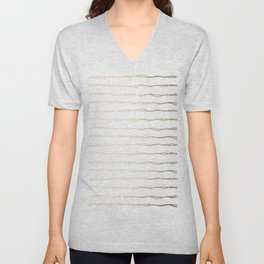Simply Wavy Lines in White Gold Sands on White Unisex V-Neck