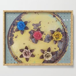 Metal Flowers on Disk, Industrial, Steampunk Roses Serving Tray