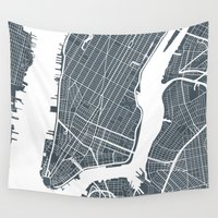 new york map Wall Tapestries featuring New York City map by Studio Tesouro