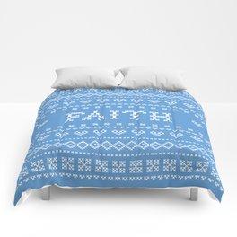 FAITH faux cross stitch sampler on light blue Comforters
