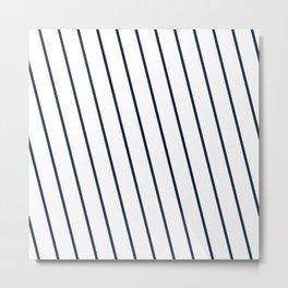 Yacht style. Navy blue diagonal stripes. Metal Print