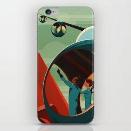 Mars Retro Space Travel Poster iPhone Skin