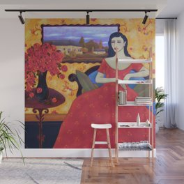 Seated Woman with Red Gown, Red Roses and Landscape Wall Mural