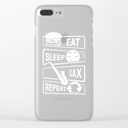 Eat Sleep Sax Repeat - Saxophone Music Instrument Clear iPhone Case