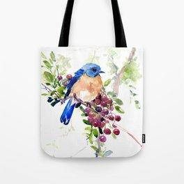 Bluebird and Berries Tote Bag