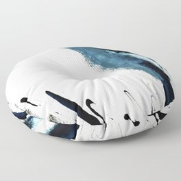 Reykjavik: a pretty and minimal mixed media piece in black, white, and blue Floor Pillow