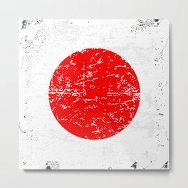 Red Grunge Circle Metal Print