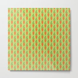 Carrots on green background, pattern Metal Print