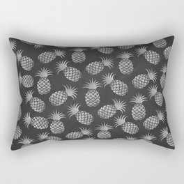 Tropical modern black gray pineapple fruit pattern Rectangular Pillow
