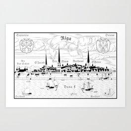 Riga 1544 (black on white) Art Print