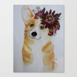 Corgi in Crown Canvas Print